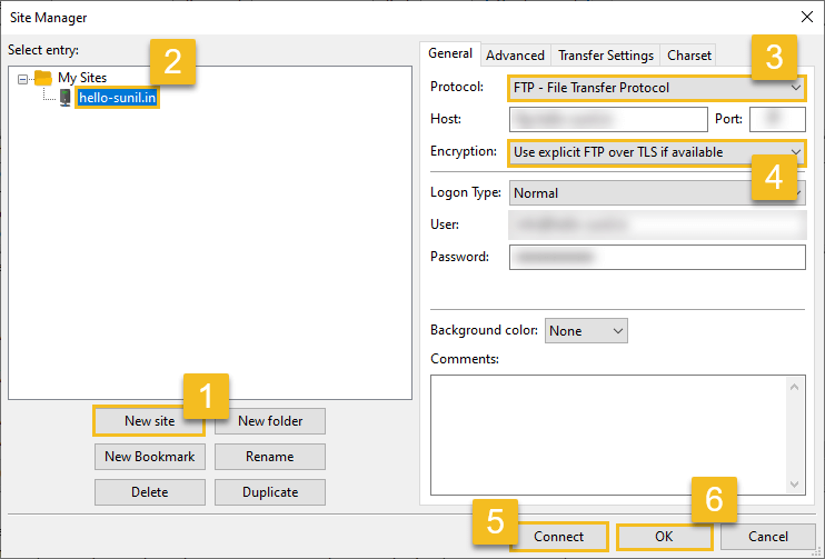 FileZilla site manager settings - use FileZilla FTP client to connect a web server