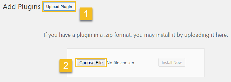 On top of the page click Upload Plugin button then click on Choose file button