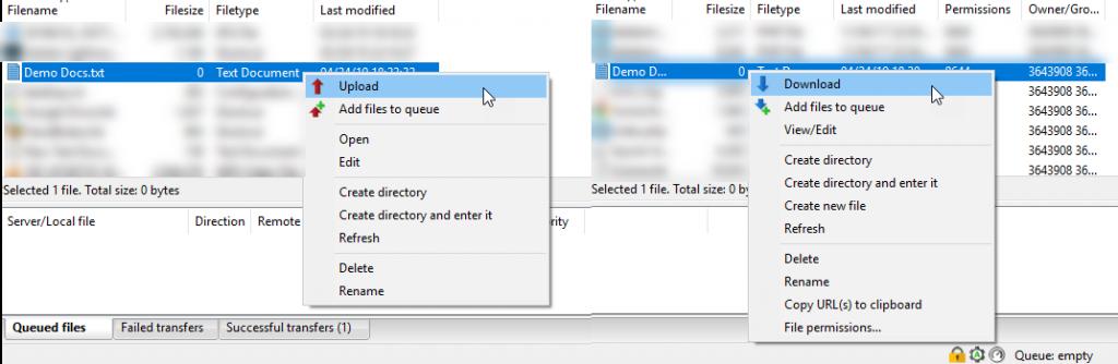 Transferring files using FTP