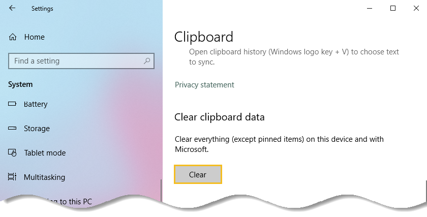 Under Clear clipboard data, click the Clear button