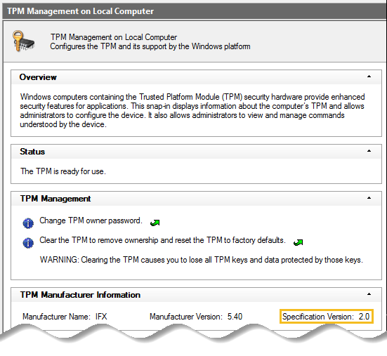 Built in utility – Trusted Platform Module (TPM) management