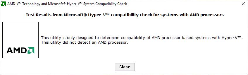 AMD-V with RVI Hyper V Compatibility Utility