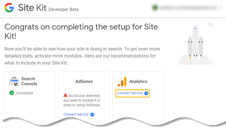 "Click on ""Connect Service"" link for Google Analytics"