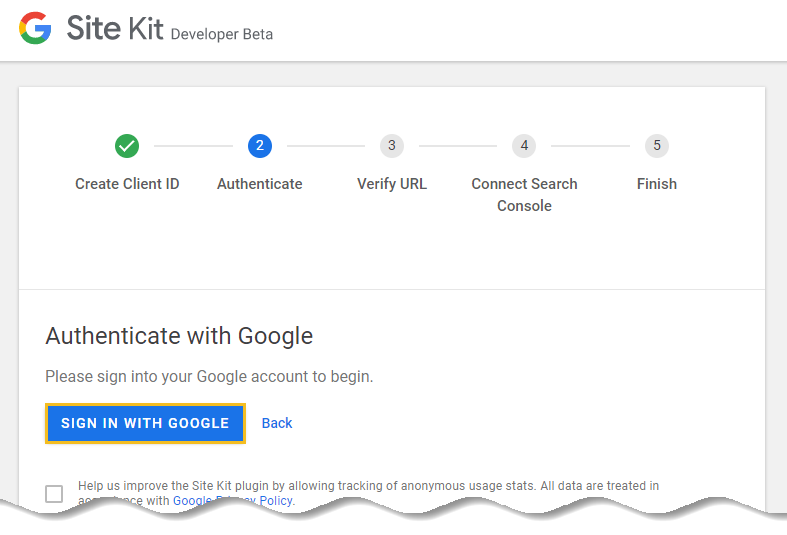 Click the Sign in with Google button and authenticate your WordPress website with Google