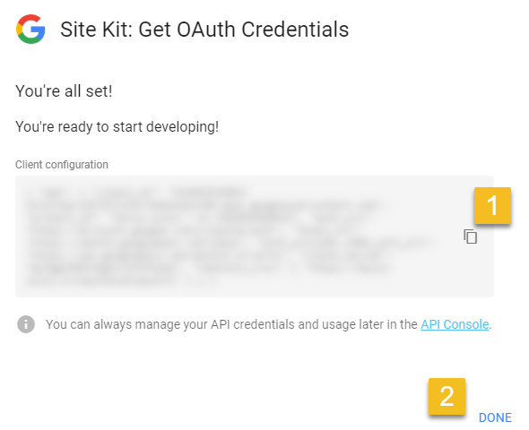 Copy your OAuth Credentials