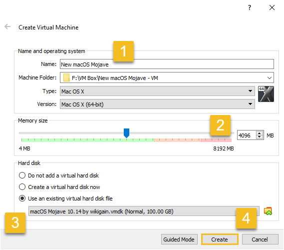 Enter details in expert mode to create a new Virtual machine