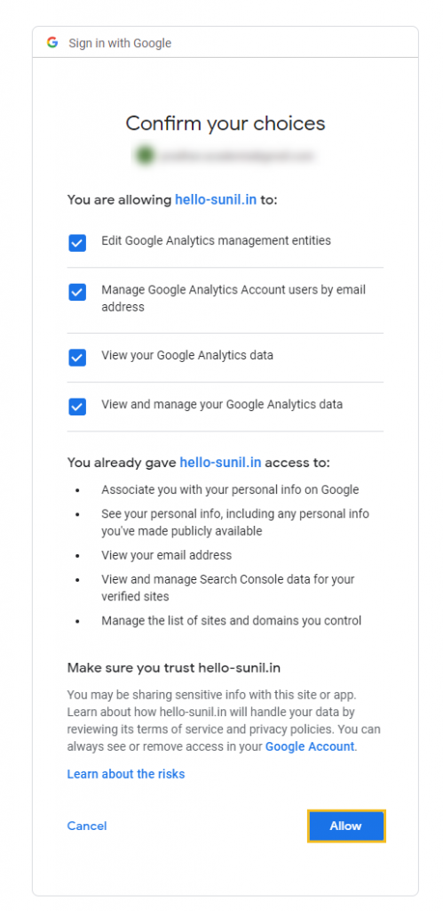 Grant all the permissions to Google Analytics account required by Google Site Kit