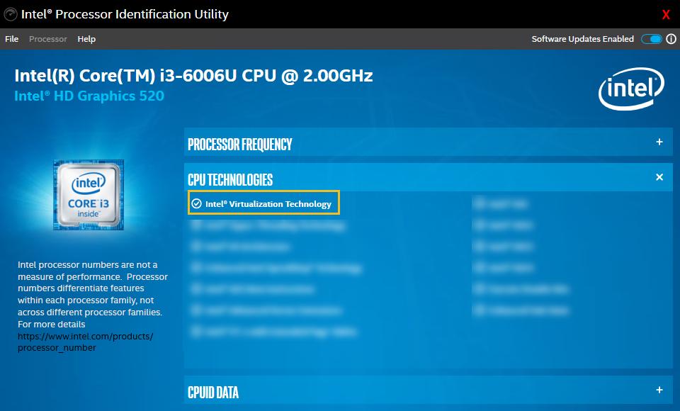 Intel Processor Identification Utility (Intel VT-x)