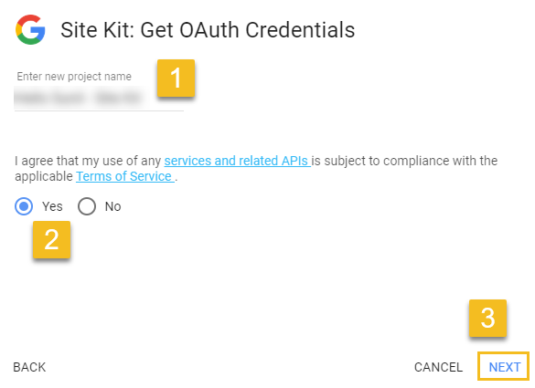 Select Terms of Service radio button and then click Next