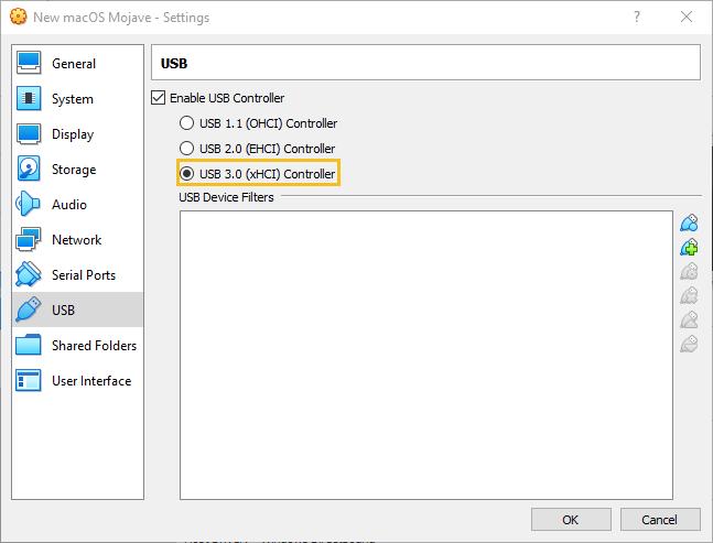 """VirtualBox """"USB"""" settings for macOS Mojave"""