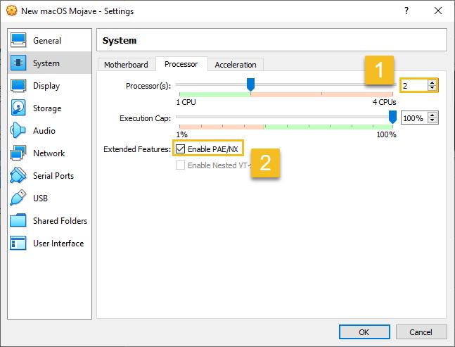 """VirtualBox """"Processor"""" settings for macOS Mojave"""