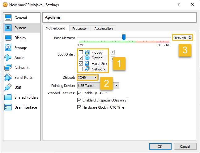 "VirtualBox ""Motherboard"" settings for macOS Mojave"