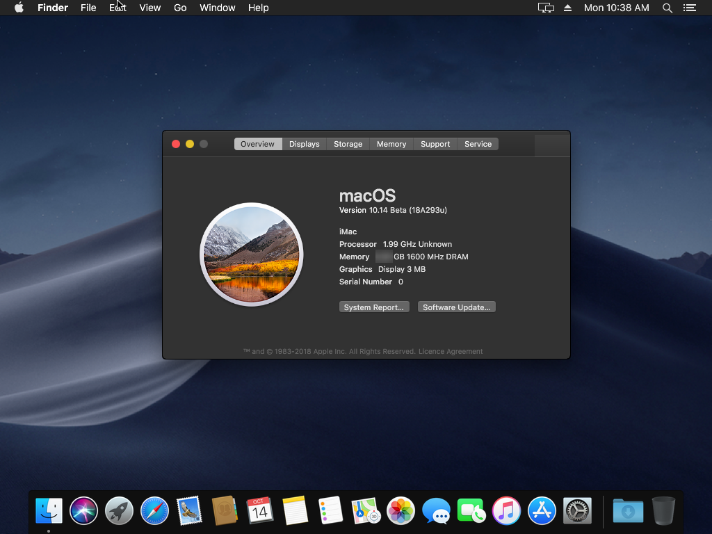 macOS Mojave installed successfully