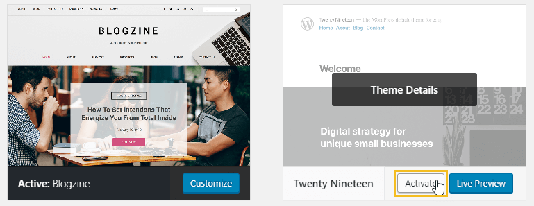 Activate twenty nineteen theme in WordPress - How to delete an installed WordPress theme