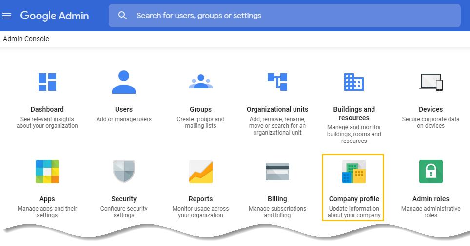 Company profile - G Suite admin console