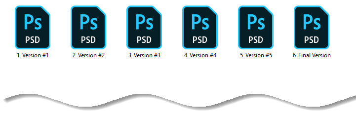 Different prototype versions from Photoshop file