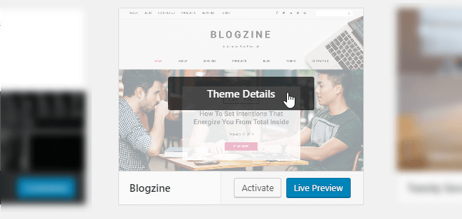 Hover over it and click the black rectangle labeled theme Details - How to delete an installed WordPress theme