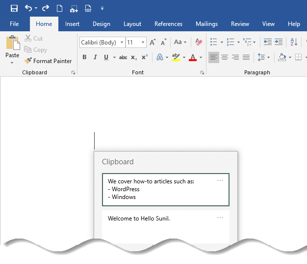 Open the document such as Microsoft wordto paste the content