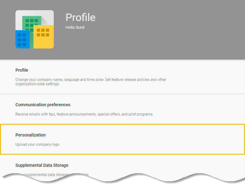 Personalization - G Suite admin console