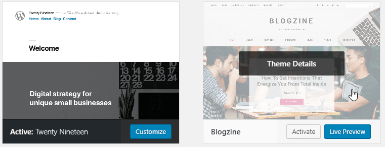 Successfully activated twenty nineteen theme in WordPress - How to delete an installed WordPress theme