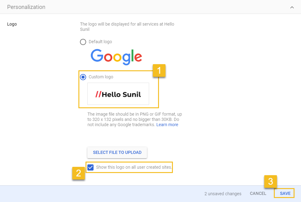 Upload your company logo - G Suite admin console