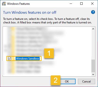 Enable windows sandbox in windows 10