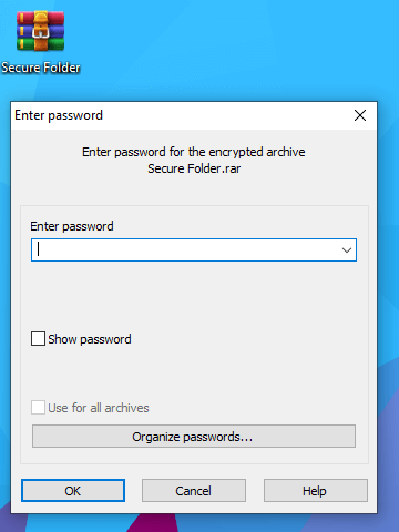 Enter password to unlock your hidden files - Password protect a folder in Windows 10