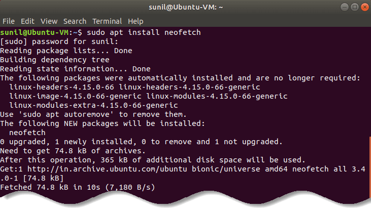 Install Neofetch on Ubuntu - Linux distro ASCII logo art