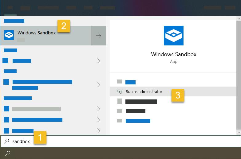 Run windows sandbox app as an administrator