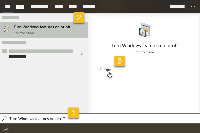 Type turn windows features on or off and select the result