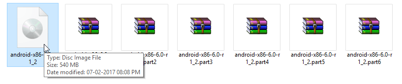 540 MB file has split into 6 smaller files