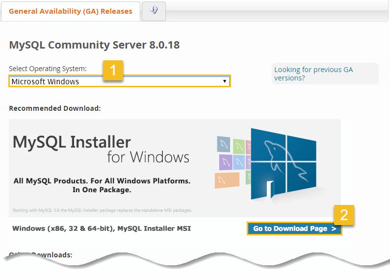 Click on go to download page - Install MySQL on Windows