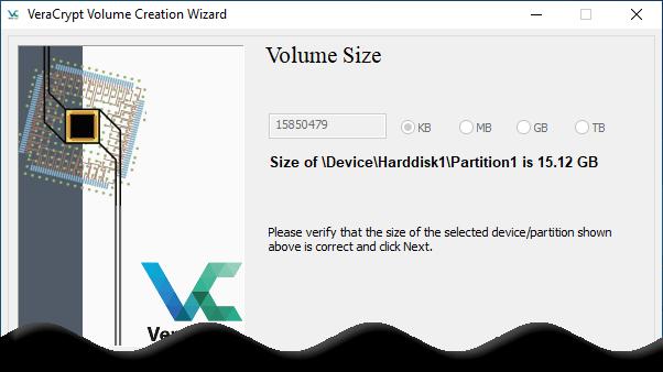 Conform volume size screen, Click Next