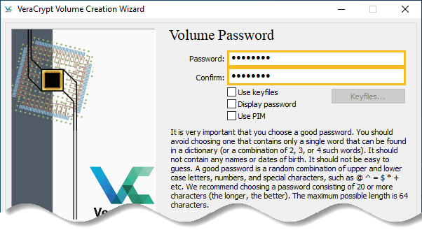 Enter the password which you want to use to encrypt your data