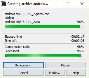 File compression and splitting in progress