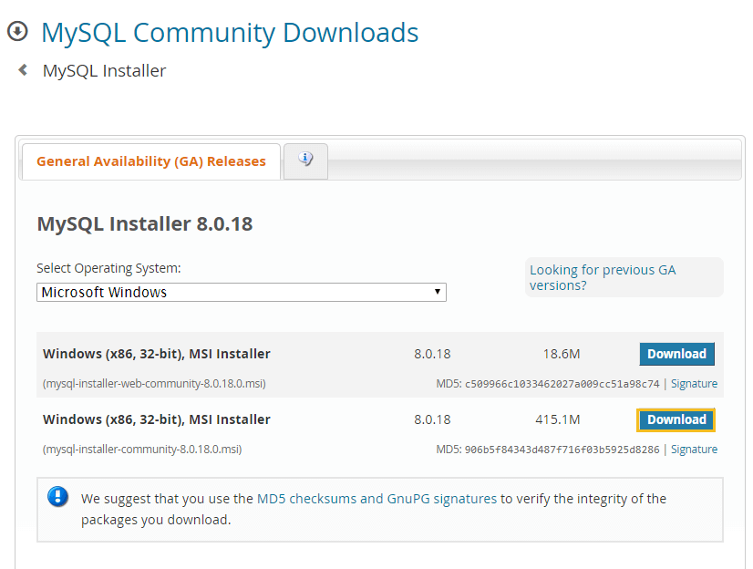 Offline installer of MySQL - Install MySQL on Windows
