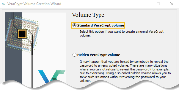 Select standard VeraCrypt volume