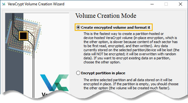 Select the first option - Create encrypted volume and format it