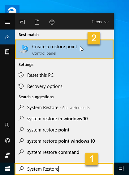 Search for create a restore point from start menu