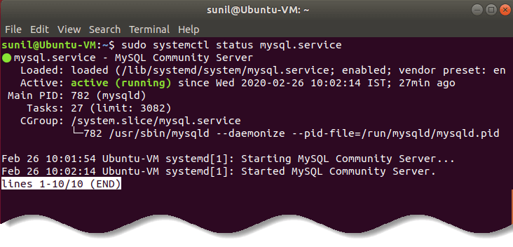 Verify  status of MySQL server - Install MySQL on Ubuntu Linux