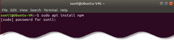 Install npm in Ubuntu Linux  - Record animated SVG