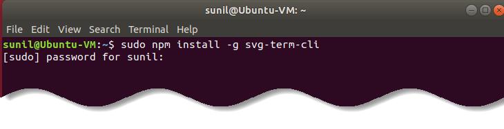Install svg-term-cli in Ubuntu Linux  - Record animated SVG