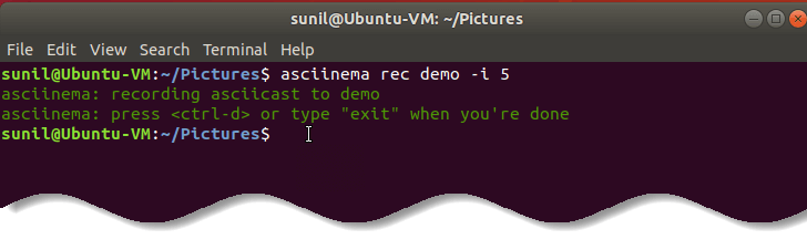Start recording your terminal after 5 seconds by using  asciinema  - Record animated SVG