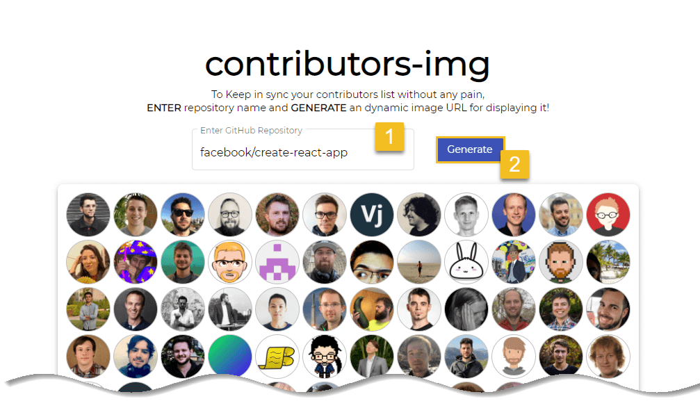 Click on generate button - Display GitHub contributors in README