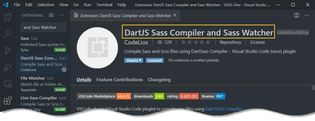 Setup SASS in VS Code - DartJS Sass Compiler and Sass Watcher from vs marketplace