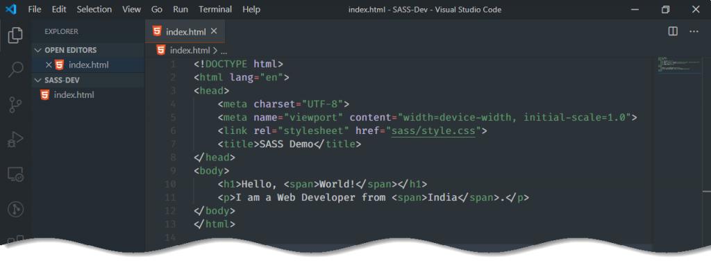 Setup SASS in VS Code - html code