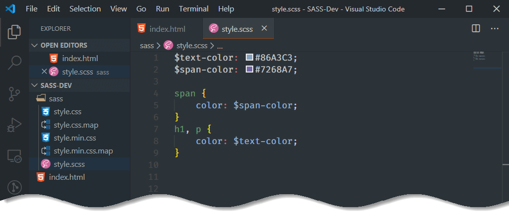 Setup SASS in VS Code - save style.scss file