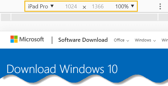 Download Windows 10 offline ISO - Windows 10 download support site open in responsive mode - Google chrome
