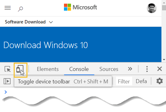 Download Windows 10 offline ISO - toggle device toolbar