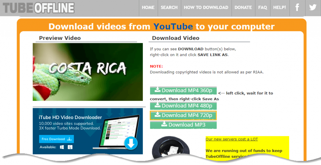 Download YouTube Video - TubeOffline - click on Download MP4 720p button